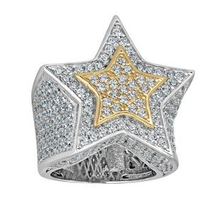 Hip Hop 3d Star Solid 14k Gold & 925 Silver Ring